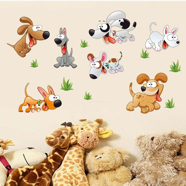Diy Dog Wall Decor : Lovely puppy dogs wall stickers room decorations diy dog