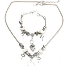 Love Key Necklace Bracelet Set Fine Silver Bead Hollow Chain Beaded Bracelet With Hook DIY Making Pendant Fashion Jewelry(China)