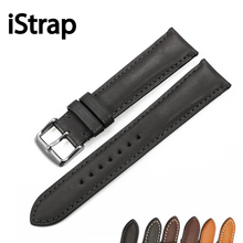 iStrap Black Brown Coffee 18mm to 22mm Genuine Calf Leather Watch Band Watch Strap Silver Pin Buckle For Tissot Omega Seiko