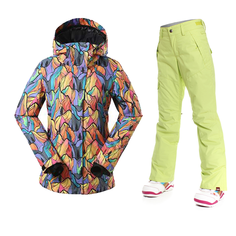 Nouveau ski imperméable hiver ski costume ensemble femmes snowboard vestes montagne ski costume femmes ski vêtements ensemble grande taille