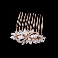 Dower Me Rose Gold Small Comb Bridal Hair Pins Zircon Wedding Headpiece Hair Jewelry Women Accessories
