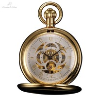KS Retro Skeleton White Gold Dial Roman Numeral Relogio Analog Necklace Male Pendant Clock Men Mechanical Pocket Watch / KSP011