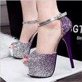 2016 nueva llegada de la manera de las mujeres zapatos de boda rhinestone del alto talón zapatos de mujer de cristal de banquetes zapatos de novia sandalias