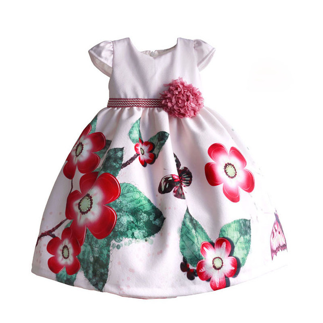 Red Floral Girls Dress Tribute Silk Butterfly Printed Kids Dresses for Girls Clothing with Pink Bow disfraz infant3-8T