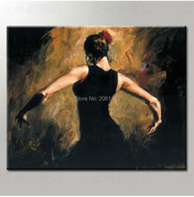 handmade figure paintings home wall art black canvas painting dancing lady woman fabric decoration