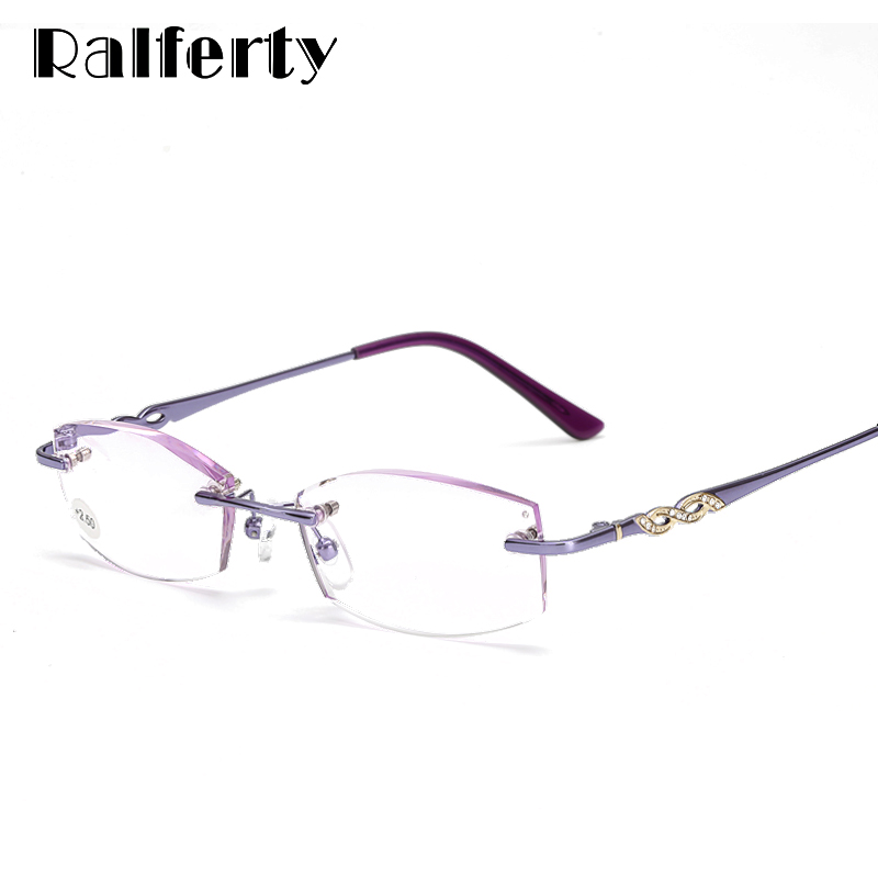 24dbe30d2d Ralferty Elegant Ladies Rimless Reading Glasses For Sight High Quality  Purple Crystal Degree Eyewear Accessories Eyeglass