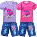 2017 novas Crianças Outfits Trolls Treino Ternos de Roupas Crianças T-shirt + Calça Jeans Crianças Denim Calças Meninos Esporte Terno Conjunto de Roupas