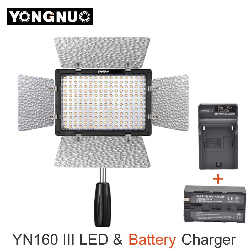 Yongnuo YN160 III CRI95 160 LED Photo Video Light Lighting + Battery Pack + Charger for Canon Nikon Sony DSLR & Camcorder yongnuo yn160 iii bi color 3200 5500k cri95 160 led video light with ac dc power adapter kit for canon nikon sony dslr camcorder