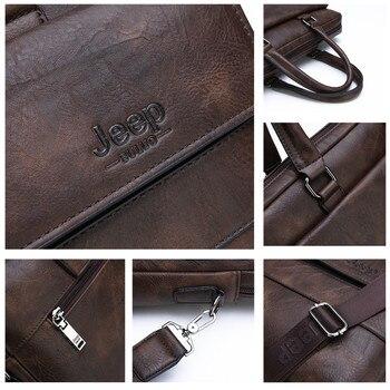 Jeep buluo men briefcase bag high quality business famous brand leather shoulder messenger bags office handbag 13.3 inch laptop