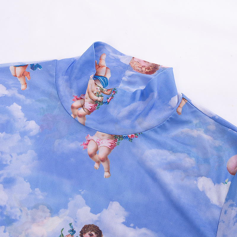 New Fashion Women See-through Sheer Mesh Fishnet T-Shirt Fashion Top Cute Angel Printed Female Summer Mesh Tops 17