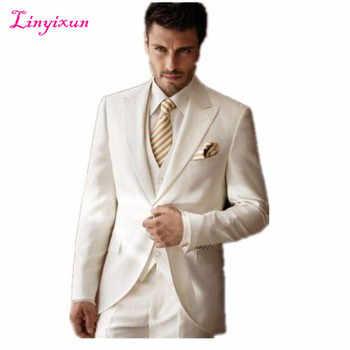 Linyixun Оптовая продажа-высококачественные свадебные костюмы белого цвета слоновой кости, мужские костюмы с остроконечным лацканом
