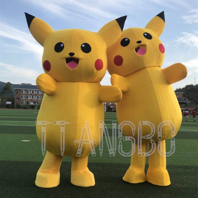 Top real picture Pikachu Mascot Costume Cosplay Anime Costume Fancy Dress Christmas Halloween Party Suit