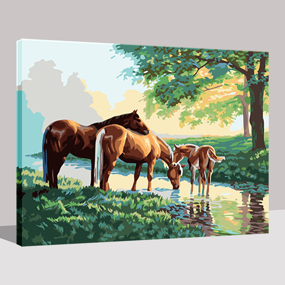 DIY Painting By Numbers Three Horses The Riverside To Drink Water ...