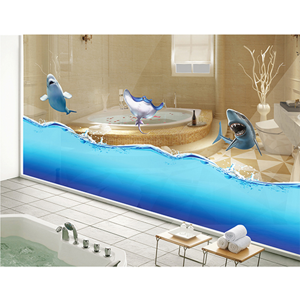 Seabed Fish Wall Sticker For Bathroom Kids Rooms Nursery quarto Decal Mural Glass Sticker Home Decor