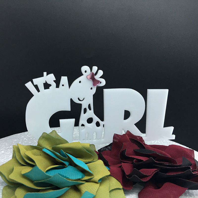 Cute Giraffe It/'s Girl Happy Birthday Cake Topper Baby Party Decorartion Acrylic