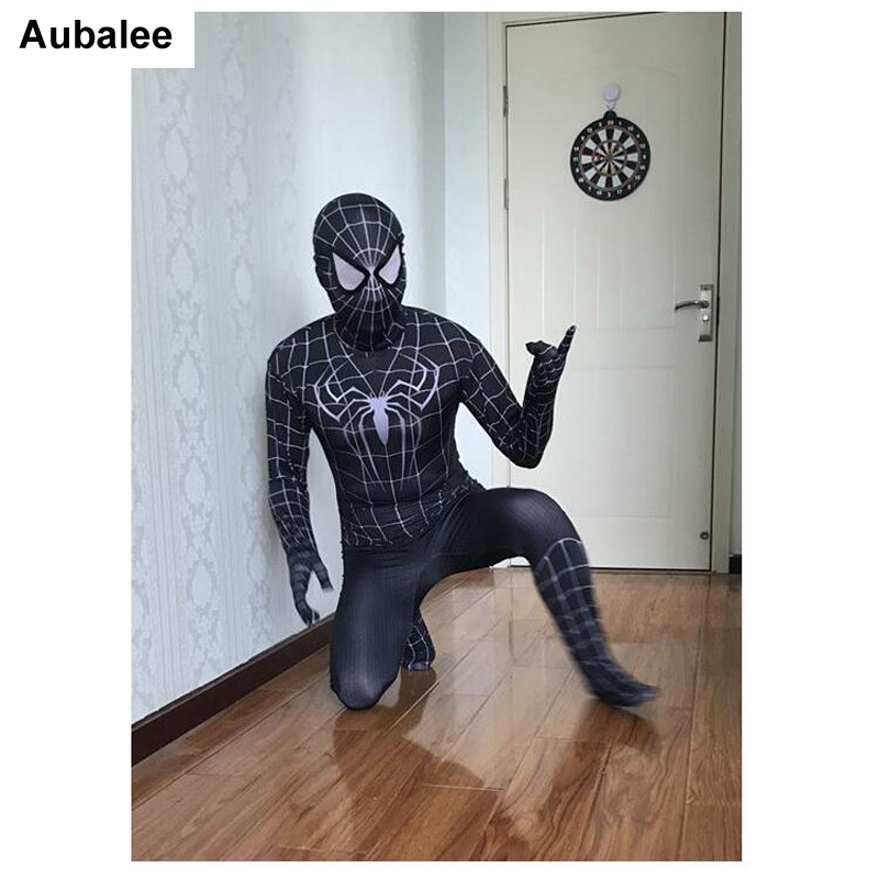 Adult Black Spider-Man Costume Superhero Zentai Suit Venom Spiderman Catsuit Men Halloween Costumes Party Fancy Dress