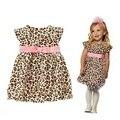 Леопардовый лето 2016 детей платья для девочек одежда Vestidos Infantil девочка с розовый пояс детская одежда