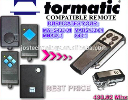 TORMATIC MAHS433-01,MAHS433-04,MHS43-1,S43-1 compatible remote control replacement 433mhz