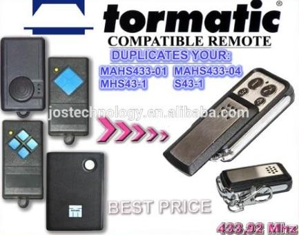 TORMATIC MAHS433-01,MAHS433-04,MHS43-1,S43-1 compatible remote control replacement 433mhz