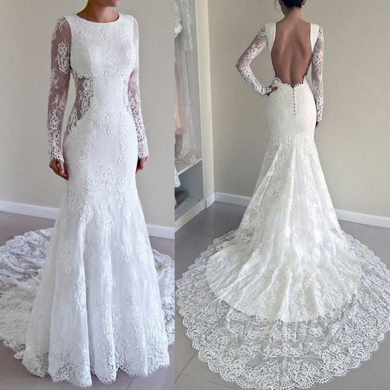 Elegant Long Sleeves Mermaid Wedding Dresses Lace 2019 Sexy Backless Sweep Train Modest Bridal Gowns Robe De Mariee Cheap