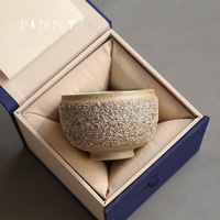 PINNY Japanese Style Crude Pottery Master Cup Hand Made Ceramic Tea Bowl Retro Heat Resistant Teacups Natural Ore