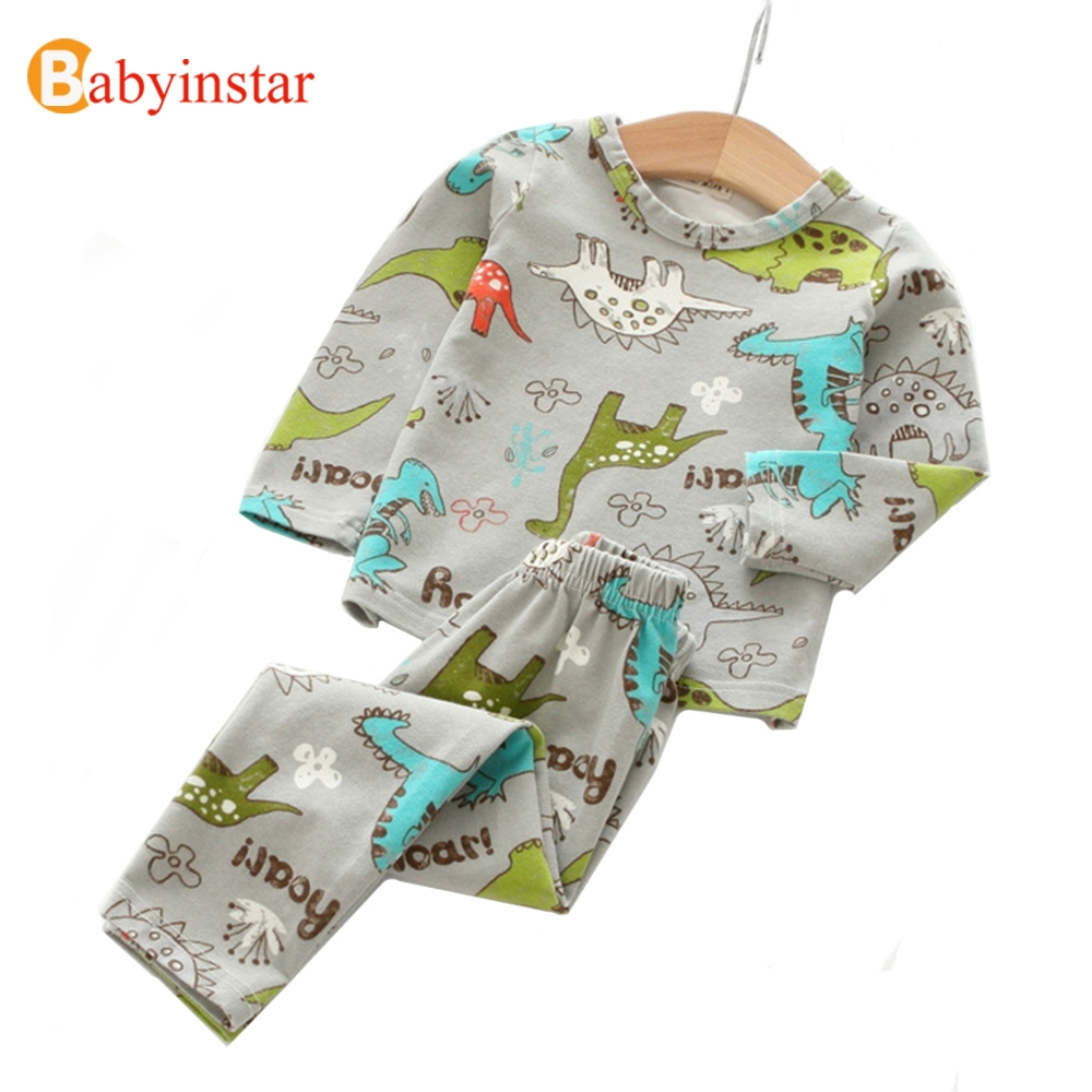Babyinstar Children's Sets Autumn Kids Suit for 3-10Y Girls Cute Cartoon Dinosaur t-shirt + Pants 2pcs Casual Boys Clothing Sets autumn winter girls children sets clothing long sleeve o neck pullover cartoon dog sweater short pant suit sets for cute girls