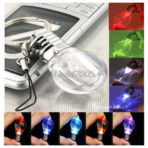 Mini LED Flashlight Light Bulb Rainbow Colors Keychain Key Ring Lamp Torch Gift G07 Drop ship