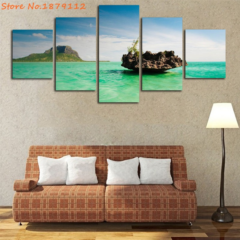 Special Offer Modern 5 Piece For Living Room Decor Wall Art Mauritius Beautiful Landscape Unframed Painting Cuadros Modernos