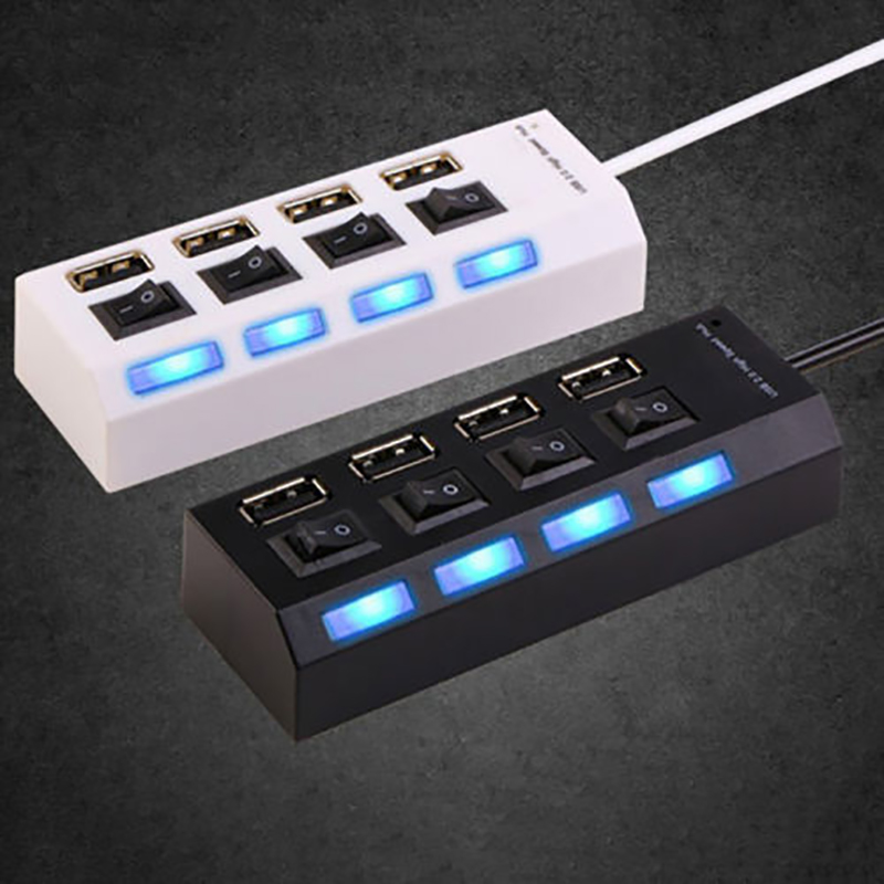 4 Ports USB Hub 2 0 High Speed 480Mbps Hub USB On Off Switch USB Splitter 4 Ports USB Hub 2.0 High Speed 480Mbps Hub USB On Off Switch USB Splitter Adapter For PC Laptop Computer Notebook