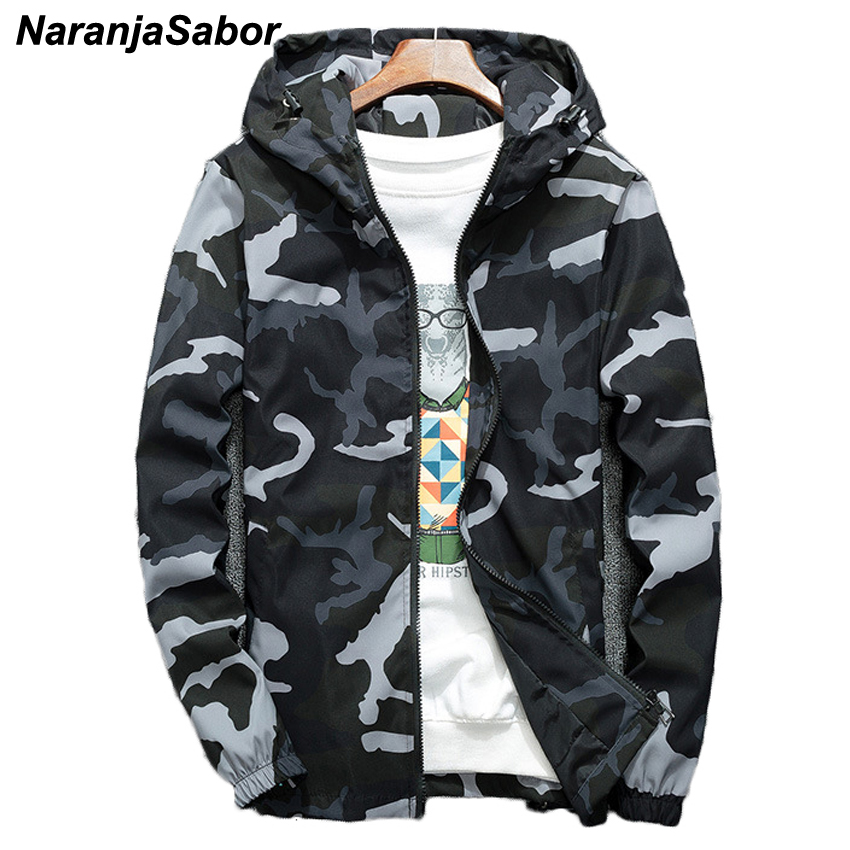 7abd72996db32 NaranjaSabor Spring Autumn Men's Hooded Jackets Camouflage Military Coats  Casual Zipper Male Windbreaker Men Brand Clothing N438-in Jackets from Men's  ...
