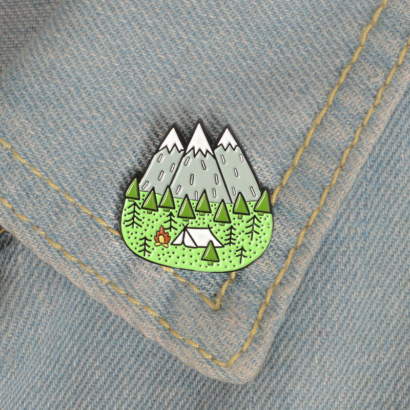 Forest tent outdoor camping personality brooch adventure home camper clothes backpack badge jewelry birthday gift(China)