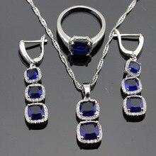 SilverColor Sistemas de La Joyería de Forma Cuadrada Azul Creado Zafiro Blanco CZ Para Las Mujeres Pendientes Largos/Anillos/Collar/Colgante Caja libre