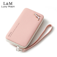 Lady Leather Wallet Girls Hasp Big Capacity Wallets Candy Colors Metal HighHeel Clutch Long Purse Phone
