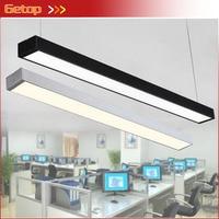 GETOP LED Strip Lights Office Classroom Chandeliers Modern Fluorescent Long Bar Aluminum Lamp Hanging Lights Black/Silver