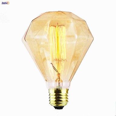 IWHD Diamond Ampoule Edison Lamp Light Bulb E27 40W Industrial Decor Lampada Retro Lamp ST64 T30 Lampara Vintage Lamp Bombillas
