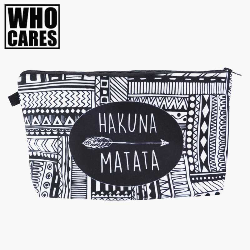 HAKUNA MATATA Portable Type Make up Bags Cosmetic Case Maleta de Maquiagem Bags Storage Travel Makeup Bag Brand Pencil case cute makeup pouch papelaria maleta maquiagem estuche maquillaje kozmetik bolsos bags cosmeticos bolsa pen pencil bag case dog
