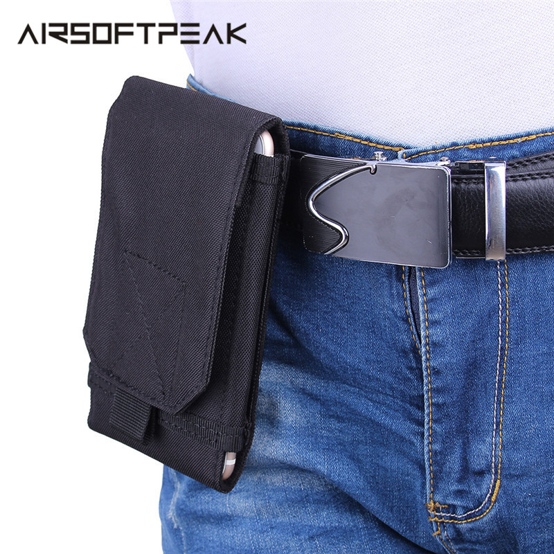 AIRSOFTPEAK Tactical Molle Phone Pouch 5.5 Inch Cellphone Pouches Waist Belt Military Mobile Phone Bag Universal Accessory Bags