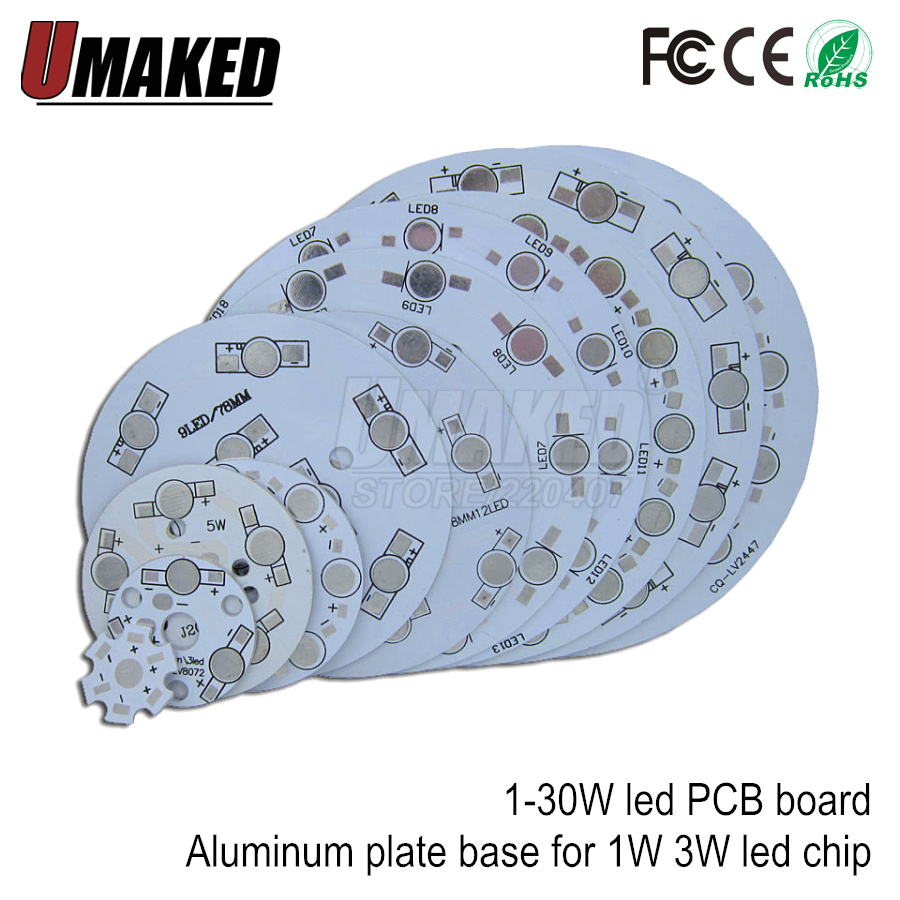 1W 3W 5W 7W 9W 12W 15W 18W 21W 24W 30W LED Tracking Light Board, Aluminum Plate Base, LED PCB Board For High Power Led Chip