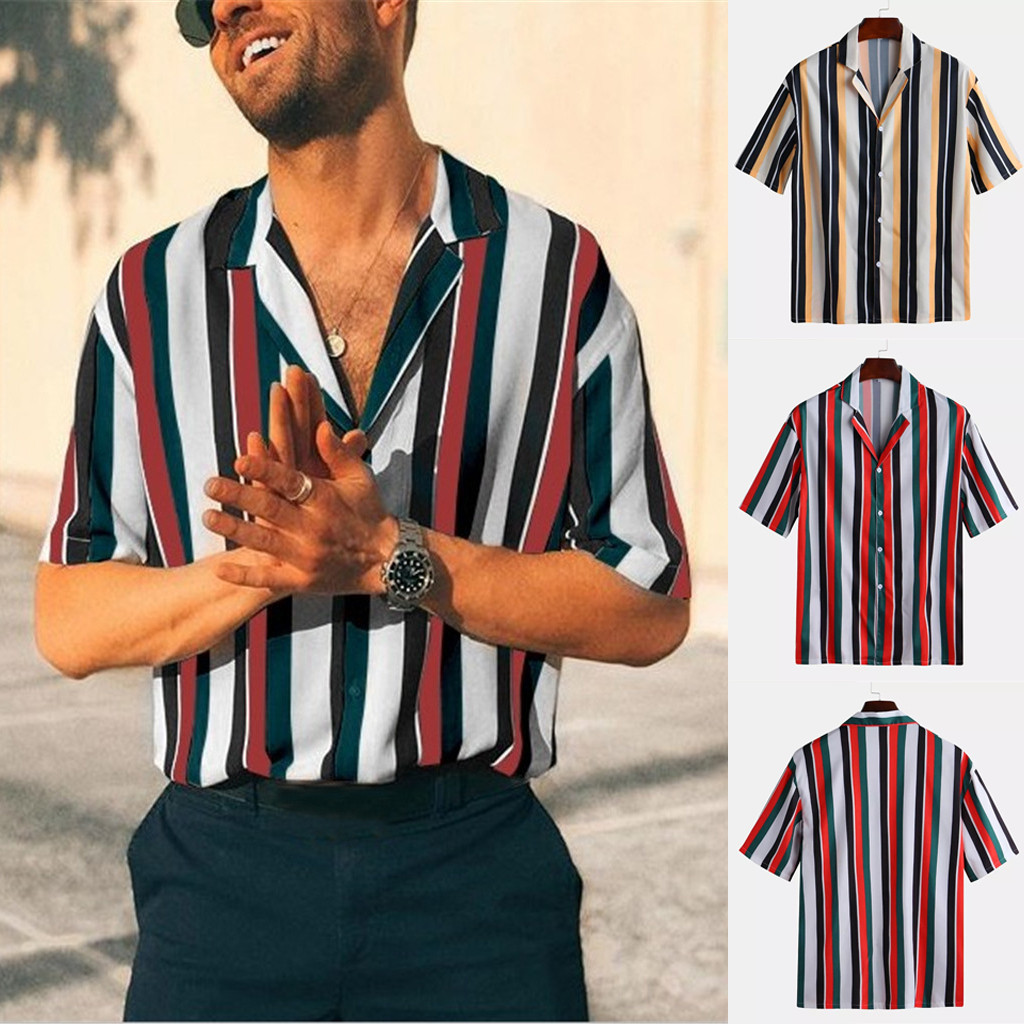 Men  Summer Fashion Shirts Casual Striped Shirts Short-Sleeve Top Blouse S-3XL High Quality Casual  Travel