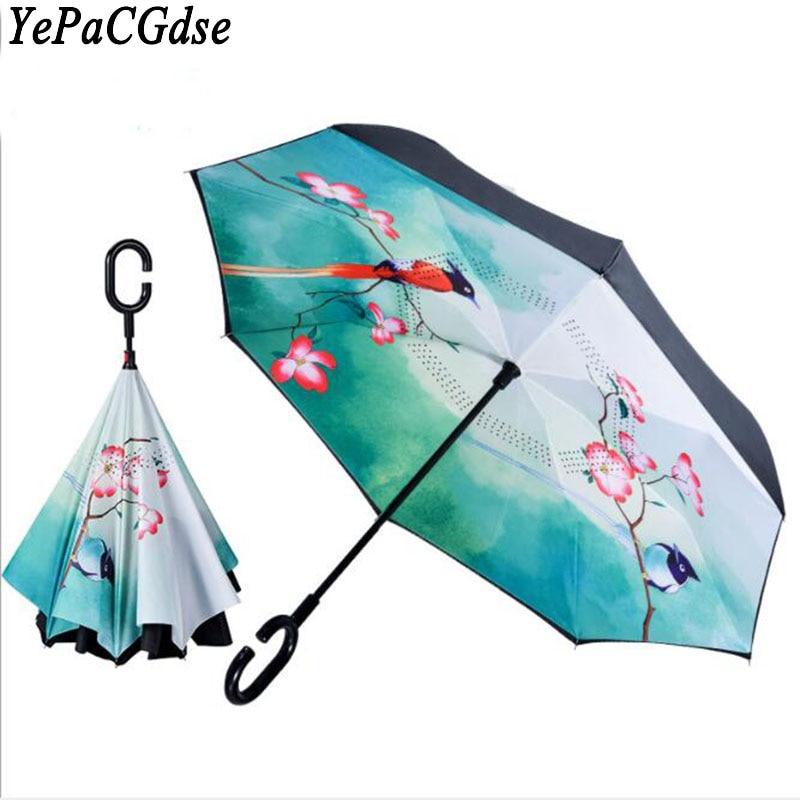 Parapluie réversible automatique à double couche imperméable à la pluie