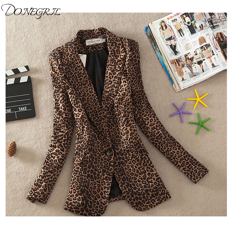 Women   Basic     Jacket   Leopard Print Suit   Jacket   Female One Button Outerwear casual Long Sleeve coat Plus Size 3Xl