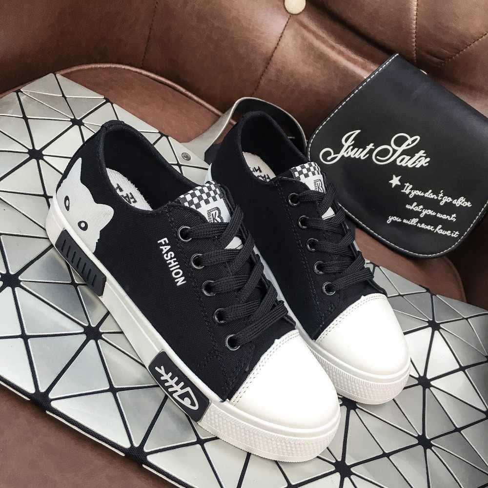 Moda Animal Bonito sapatas de lona lisas das Mulheres 2019 novo verão lace Top branco dos desenhos animados estudante placa senhoras sapatos casuais sneakers