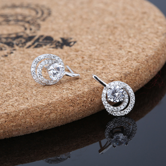 Pure 925 Sterling Silver Jewelery Women Earrings Dangles Spiral Crystal White Gold Fashion Compatible With European 17*11mm 1set