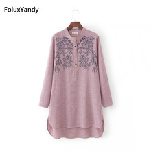 Shirt Women Stand-Collar Long Blouse Embroidery Striped Plus-Size Casual KKFY82 3 4-Xl