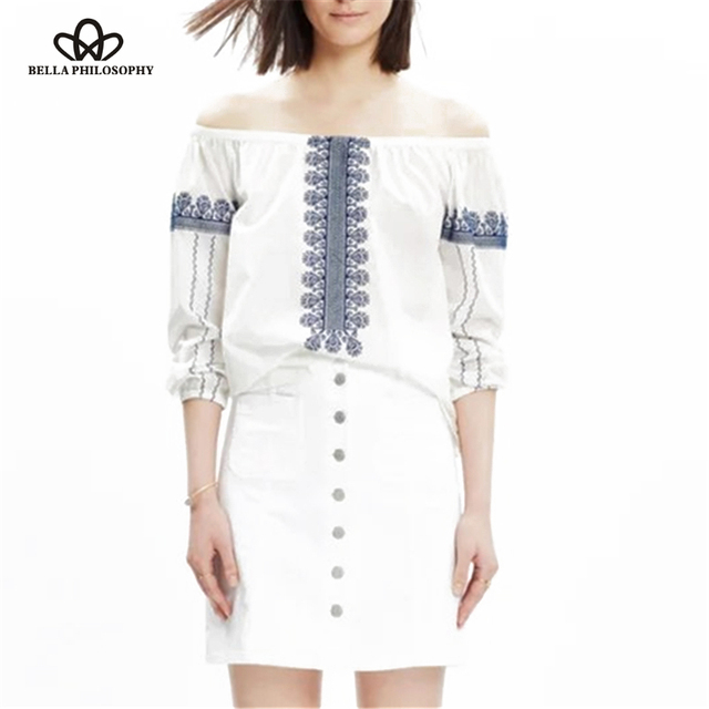 594435fba104a US $16.99 |Bella Philosophy 2016 summer ethnic long sleeve positioning  embroidery code shoulder slash neck women shirt blouse-in Blouses & Shirts  from ...