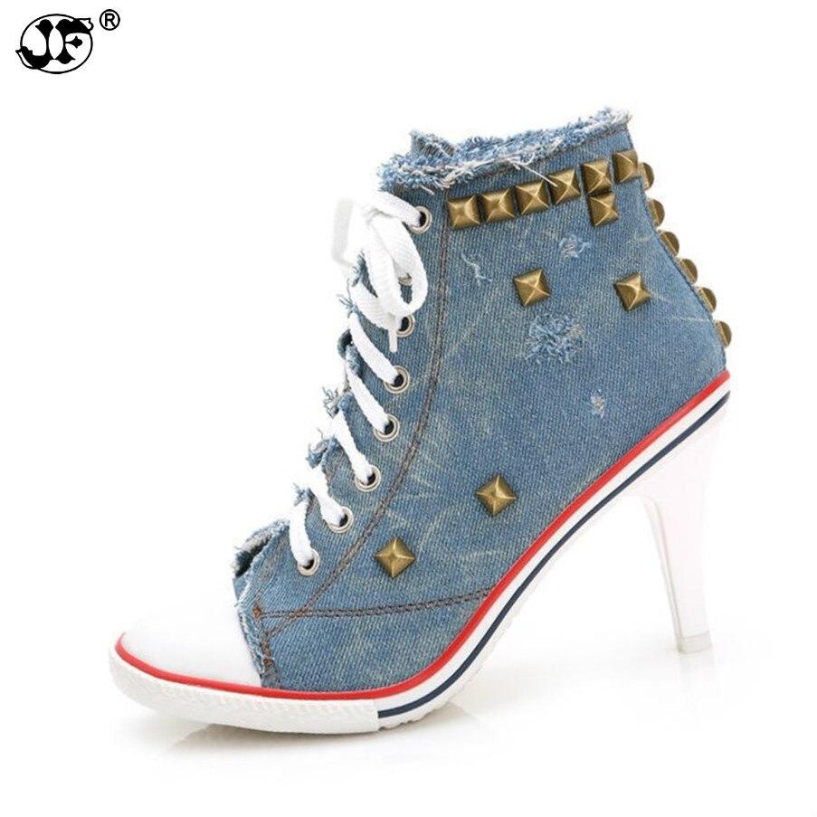 Haut chaussures en toile 8.5 CM talons hauts chaussures femme décontractées rivet chaussure femme à lacets Demin chaussures chaussure femme889