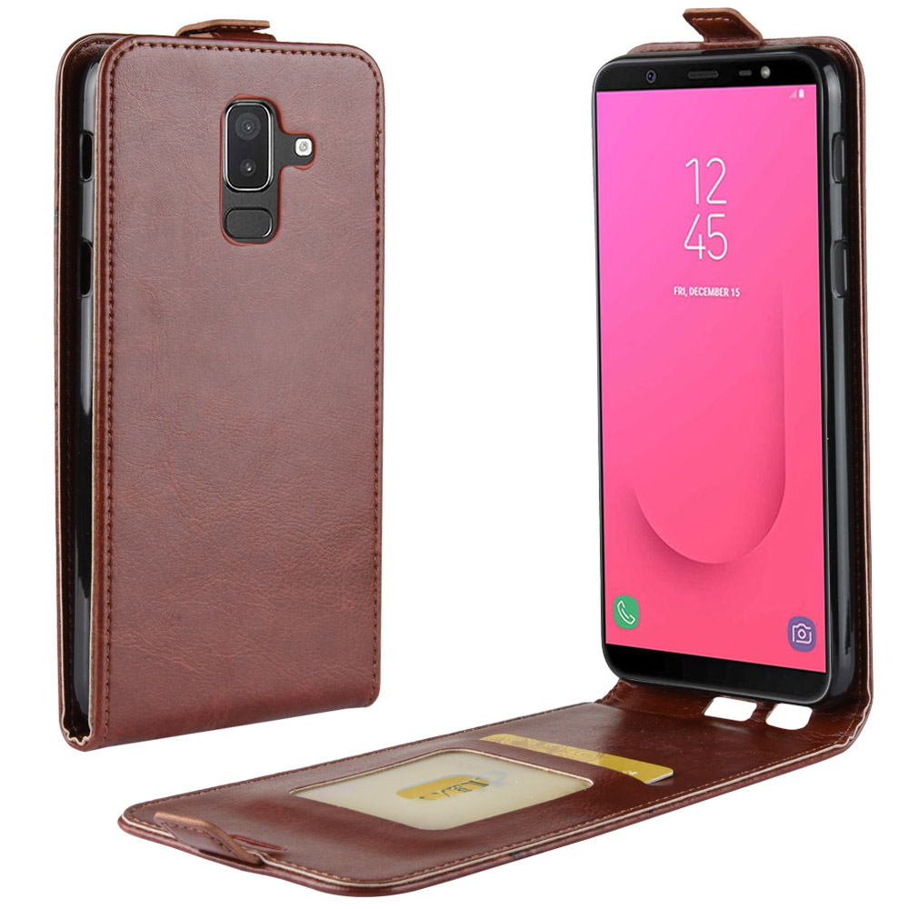 J8 Case for Samsung Galaxy J8 2018 Down Open Style Cases Flip Leather Thick Solid Card Slot Cover Black for SM J800FN J800