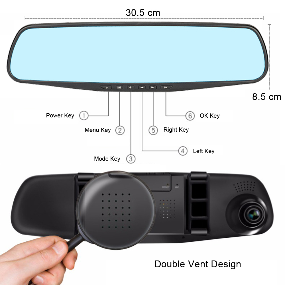 Автомобильный видеорегистратор ADDKEY, камера с сенсорным экраном 4,3 дюйма, FHD 1080 P, зеркало заднего вида, цифровой видеорегистратор, двойной объектив, авто регистратор, видеокамера