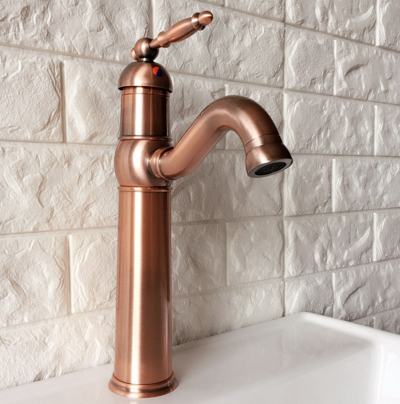 Antique Red Copper Brass Single Handle Lever Bathroom Kitchen Basin Sink Faucet Mixer Tap Swivel Spout Deck Mounted Mnf388