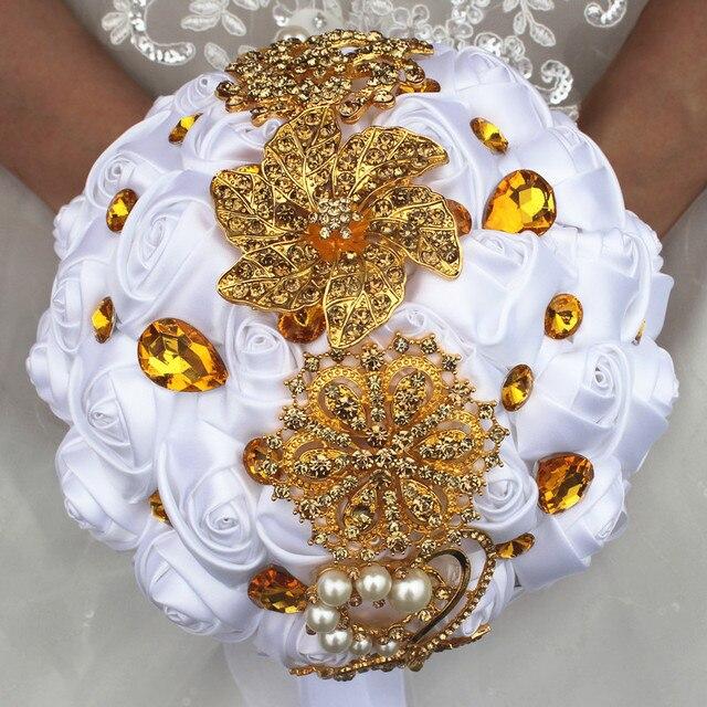 Luxus Braut Mit Blumen Reine Weisse Hochzeit Geschenke Goldene
